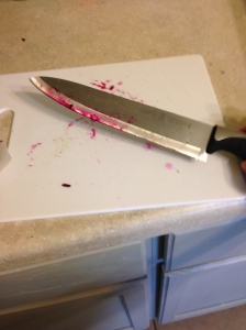 Whenever I make beets it gets all Dexter-blood-splatter in my kitchen.