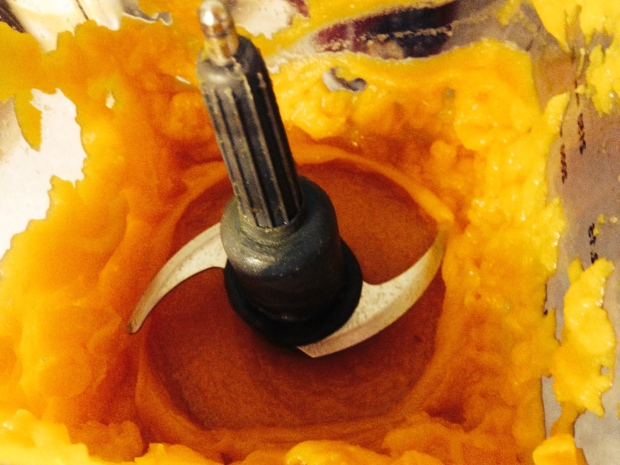 Pumpkin in my blender getting puréed.