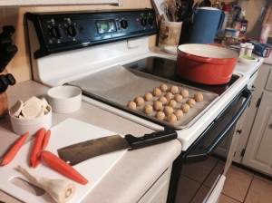 My matzoh ball soup making set-up.