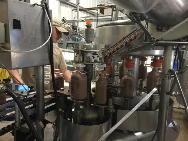 Here's a shot of some chocolate milk getting bottled.