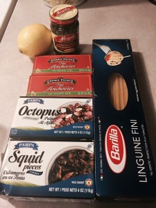 Here's a photo from a recent Facebook post of the ingredients of an easy weeknight supper. For the record, I will not buy the squid again (too much ink, not enough squid).